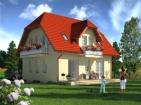 Проект дома с цоколем, мансардой и гаражом